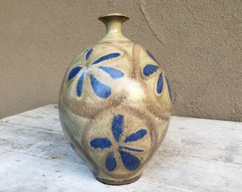 Mid Century Large Stoneware Pottery Weed Vase with Blue Flowers, Art Studio Ceramics, Midmod Decor