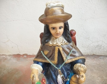 Large Vintage Statue Holy Infant of Atocha Religious Decor, Infant Jesus Santo Nino Atocha Sculpture Garden Art