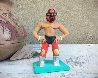 Small Mexican Pottery Lucha Libre Masked Wrestler Figurine by Josefina Aguilar, Oaxaca Mexico Folk Art