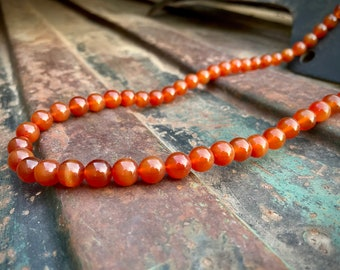 """Vintage Lucoral Signed Carnelian Bead Necklace 32"""" with Fish Hook Clasp, Estate Jewelry for Women"""