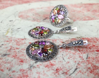 Vintage 925 Sterling Silver Multi Crystal Marcasite Ring and Earrings, Gemstone Jewelry Set