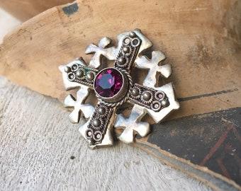 Vintage Sterling Silver Jerusalem Cross Pendant Brooch with Purple Rhinestone, Five-Fold Crusaders
