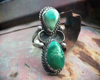 16g Old Pawn Two-Stone Turquoise Ring Size 8.75, Green Cerrillos Turquoise Navajo Native American Indian Jewelry