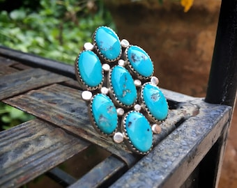 Large Kingman Turquoise Cluster Ring Size 8, Southwestern Native American Indian Style Jewelry
