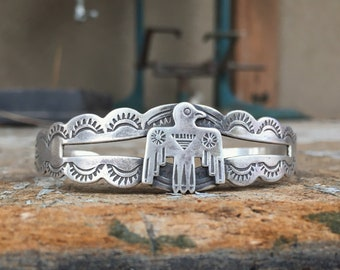 Fred Harvey Era Coin Silver Thunderbird Cuff Bracelet for Men or Women, Native America Indian Old Pawn Jewelry
