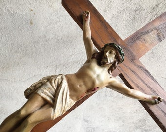 Vintage Chalkware and Wood Wall Crucifix Religious Home Decor, Christ on Cross Wall Hanging