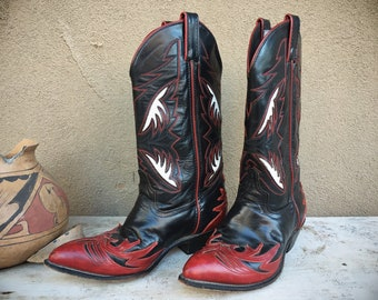 Vintage Black Red Leather Cowgirl Boot Size 9 (Run Small) Code West, Women's Cowboy Boot