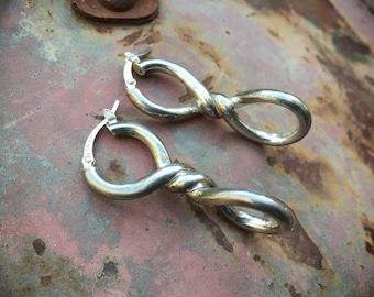 Sterling Silver Twist Earrings for Women by Jacmel Jewelry of New York, Birthday Gift for Girlfriend
