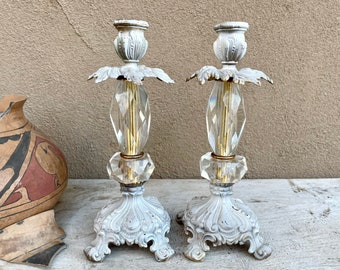 Pair Victorian Style White Painted Metal Glass Candle Holders (Missing Dangles), French Country