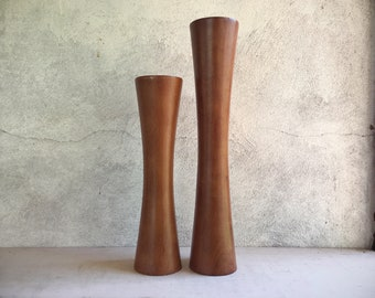 Vintage Midcentury Modern Teak Wood Candle Holder Set, Danish Modern, Mid Mod Home Decor