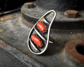 1970s Sterling Silver and Mediterranean Coral Ring for Women Size 5, Navajo Native America Indian Jewelry Southwestern, Girlfriend Gift
