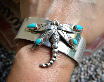 48g Navajo Etta Enditto Endito Sterling Silver Cuff Bracelet with Dragonfly, Native America Jewelry