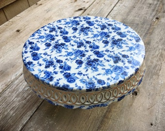 "Blue and White Cake Stand Porcelain Roses, Pedestal Cake Stand, 14"" Cake Plate, Floral Decor, Wedding Cake Stand, French Country Vintage"
