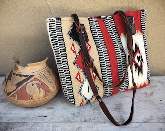 Vintage Woven Blanket Shoulder Bag with Leather Shoulder Straps, Western Southwestern Purse for Women