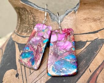 Purple Blue Compressed Turquoise Slab Earrings, Santo Domingo Native American Jewelry Southwestern