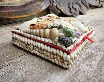 Vintage Seashell Encrusted Trinket Box with Red Velvet Lined Interior, Ocean Cottage Decor