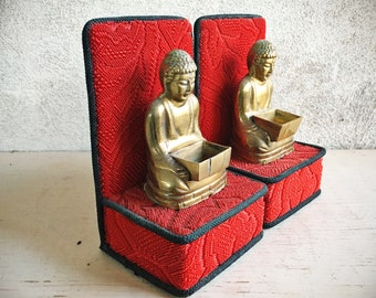 Vintage Brass Buddha Book Ends on Red Matelesse Quilted Fabric Altar Stands, Gift for Buddhist