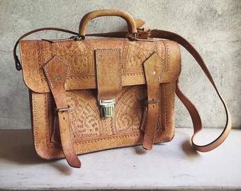 Vintage Tooled Leather Messenger Bag for Men or Women, Shoulder Bag Laptop Satchel