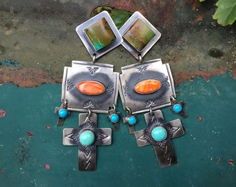 Rita Lee Sterling Silver Cross Earrings Turquoise Spiny Oyster, Navajo Native American Indian Jewelry