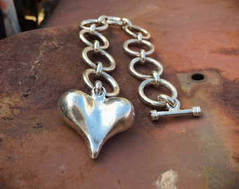 Vintage Large Silver Plated Puffy Heart with Heavy Link Bracelet, Heart Charm Jewelry 1980s