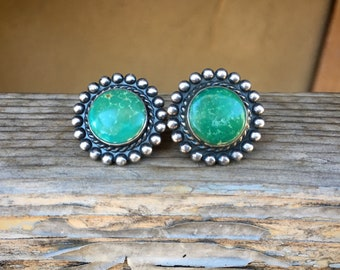 1950s Screw Back Earrings with Natural Green Turquoise Sterling Silver, Fred Harvey Era Jewelry