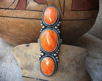 26g Huge Navajo Long Ring Orange Spiny Oyster Shell Size 8.5, Signed Native American Indian Jewelry for Women
