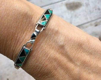 Vintage Turquoise Black Onyx Panel Link Bracelet Channel Inlay, Native American Indian Jewelry
