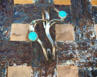 Native American Style Boho Bracelet Silver Plated Turquoise Cuff, Contemporary Jewelry