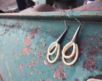 1970s Melon Shell Heishi Earrings Sterling Silver Cones, Off White Beaded Hoops, Bohemian Jewelry
