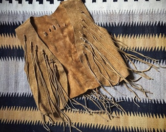 1970s Boho Hippie Cropped Leather Suede Vest with Fringe Women's Size Small, Southwestern Fashion, Waistcoat Haute Hippie, Cowgirl Costume