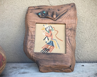 Framed Rainbow Kachina Sand Painting Faux Wood Frame, Southwestern Wall Decor, Native American Art