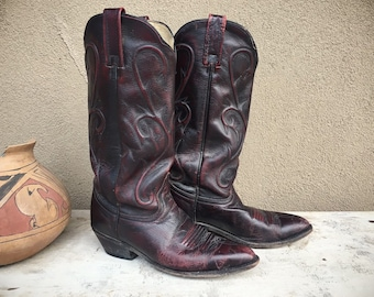 Vintage Dark Burgundy Leather Dan Post Cowboy Boots for Women Size 7.5 M Cowgirl Boot