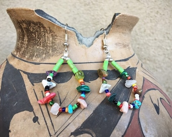 Multi Color Bead Hoop Earrings Southwestern Jewelry, Boho Earrings, Native American Indian Style