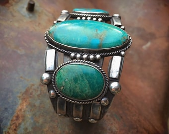 1930s Blue Gem Turquoise and Silver Bracelet for Women or Men, Navajo Native American Indian Jewelry, Old Pawn