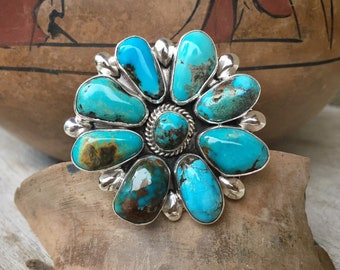 Huge 33g Turquoise Cluster Ring Size 8 (Adj) by Navajo Mary Jane Garcia, Native American Jewelry