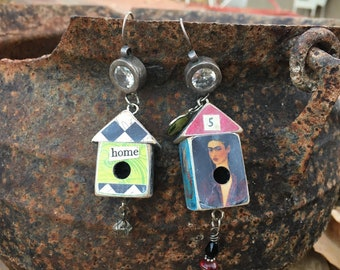 Upcycled Rhinestone and 925 Sterling Silver Earrings with Dangling Houses, Assemblage Handmade Jewelry