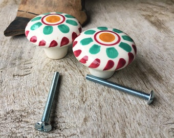Pair of Ceramic Drawer Pulls in Green and Pink, Rustic Bohemian Home Decor, Ceramics and Pottery