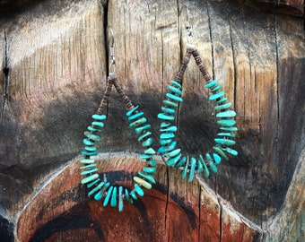 Chip Turquoise and Heishi Hoop Earrings for Women, Native American Indian Jewelry, Girlfriend Gift