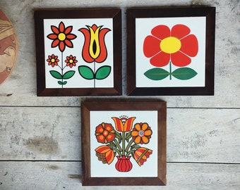 Three Midcentury Modern Trivets Ceramic Tiles in Wood Frame Made in Brazil Red Decor for Kitchen