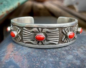 "Navajo Rick Martinez Vintage Sterling Silver Coral Cuff Bracelet Size 6.5"", Native American Jewelry"