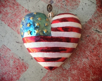 Faded 2001 Chris Radko Christmas Tree Ornament of American Flag Heart, Patriotic Ornament, Red White Blue Decor