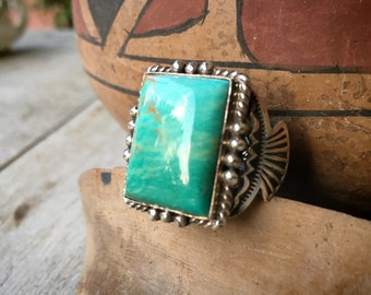 Navajo Michael & Rose Calladitto Turquoise Ring Size 11.5 Unisex, Native American Indian Jewelry