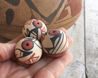 Three Vintage Miniature Seed Pots New Mexican Pueblo Indian Pottery, Southwestern Decor