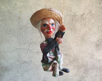 Vintage Mexican Marionette Grandfather with White Hair Old Man Straw Hat Mexican Puppet