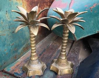 Solid Brass Candle Stick Holder Set Palm Tree or Pineapple Design, Hollywood Regency Decor