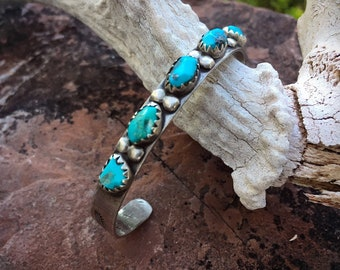 Navajo Alan Penketewa Turquoise Row Bracelet, Native American Indian Jewelry
