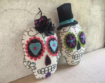 Day of the Dead Bride and Groom Fabric Skull Calavera Wall Art, Mexican Fiesta Wedding Decorations, Skeleton Ornaments, Wedding Shower Decor