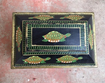 """Vintage 11"""" Painted Wood Chest with Turtles Storage Box, Bohemian Decor Southwestern Home"""