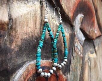 Turquoise Heishi and Sterling Silver Bead Loop Hoop Earrings, Southwest Native American Indian Jewelry