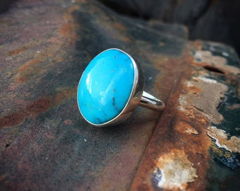 Signed Navajo Simple Turquoise Ring for Women or Men Size 9.5, Round Ring Sterling Silver